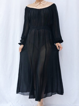 1940s Sheer Silk Chiffon Poet Sleeve Dress -S