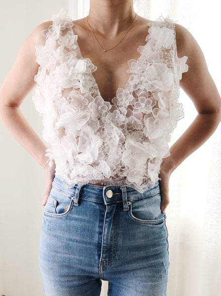 Floral Backless Floral Top - S