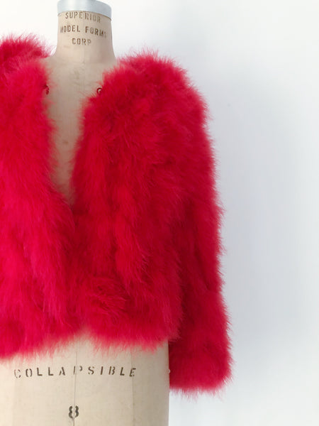 Vintage Red Feather Jacket - S