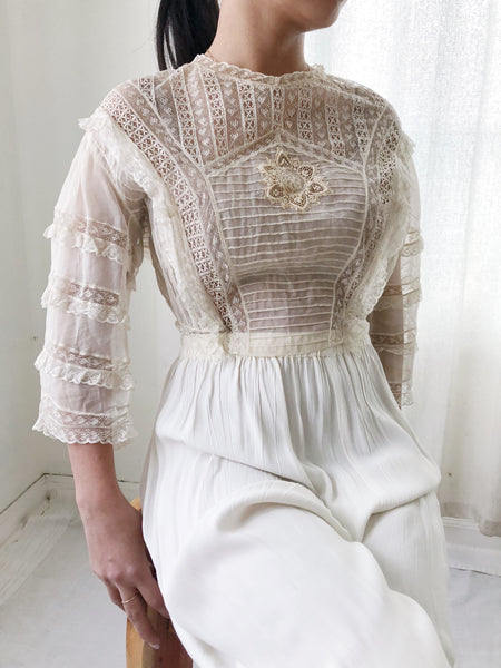 Edwardian Pintucked Silk Organza Top - XS/S