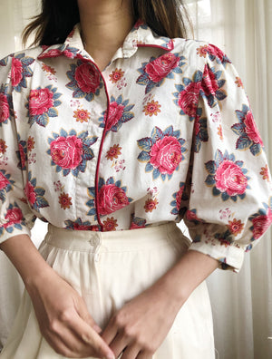 1950s Cotton Puffed Sleeves Top - S/M