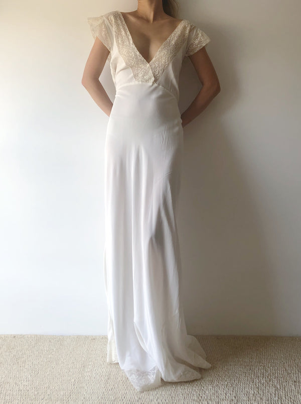 1930s Rayon Slip Gown with Lace - S/M