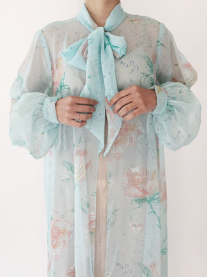 1960s Baby Blue Floral Chiffon Duster - One Size