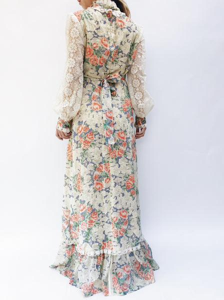 1970s Poet Sleeve Floral Maxi Dress - S/M