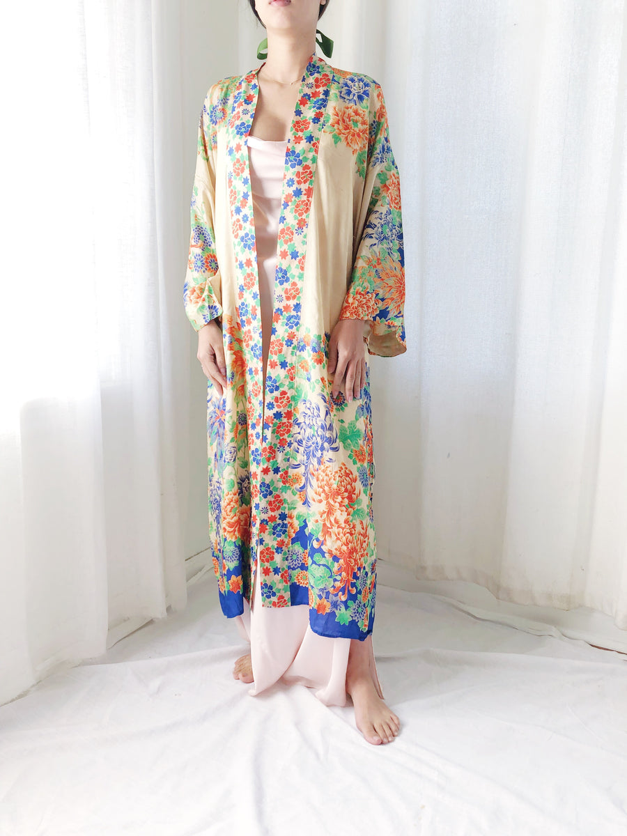 1920s Silk Floral Robe - One Size