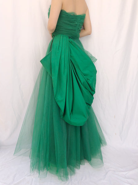1950s Emerald Green Tulle Dress - S