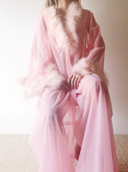 1950s Watermelon Pink Tricot and Feather Dressing Robe - OSFM