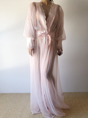 Vintage Pink Puff Sleeves Satin Embellished Dressing Robe - One Size