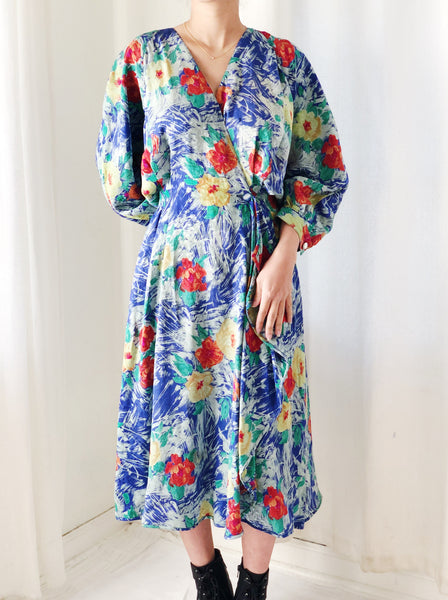 1980s Emmanuel Ungaro Silk Floral Wrap Dress - S/M