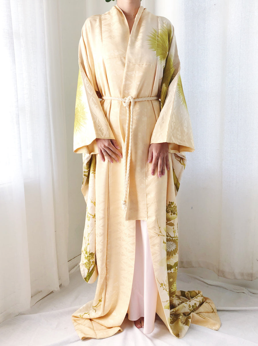 HOLD Vintage Peach and Chartreuse Silk Kimono - One Size