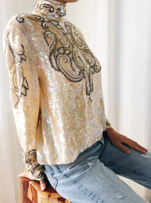 1980s High Neck Silk Beaded Gold Top - S/M