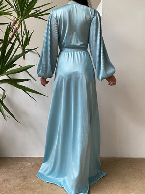 1960s Pleated Puff Sleeve Dressing Gown - S/M
