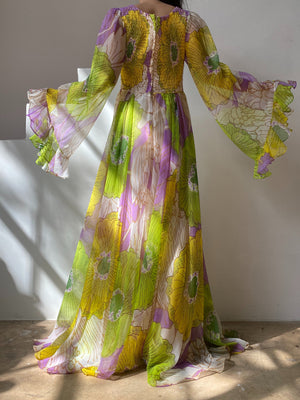 1970s Green Floral Chiffon Dress - M/L