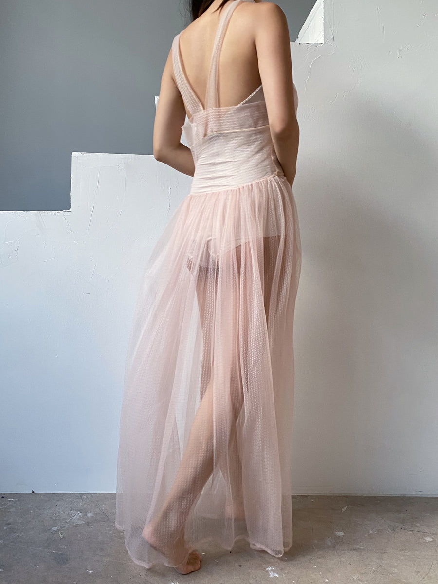 1950s Sheer Pink Nylon Slip Gown - XS
