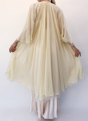 1930s Silk Chiffon Robe with Ribbons - One Size