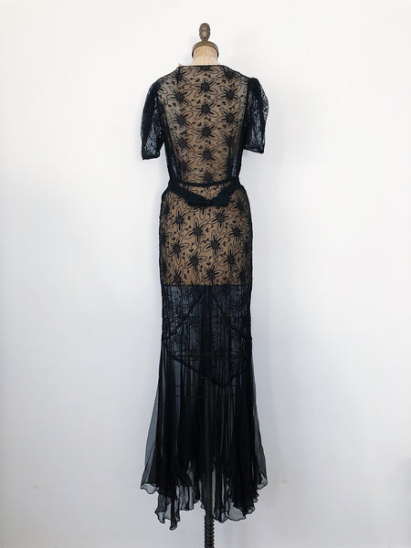 1930s Black Silk Net Embroidered Gown - S