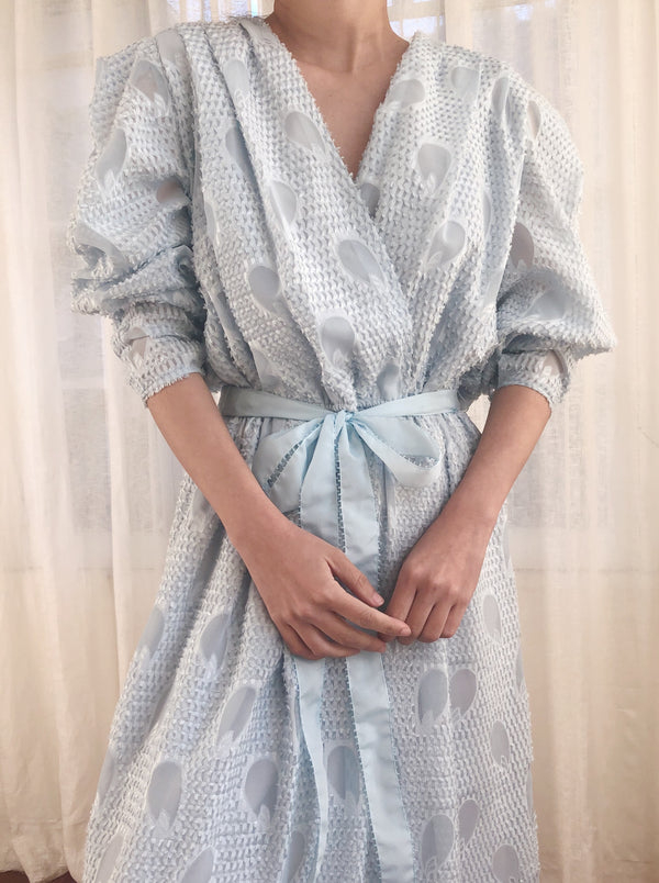 Vintage Baby Blue Textured Chiffon Dress - M/L