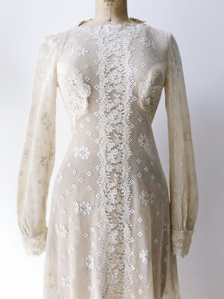 1960s Lace Crochet Gown- XS