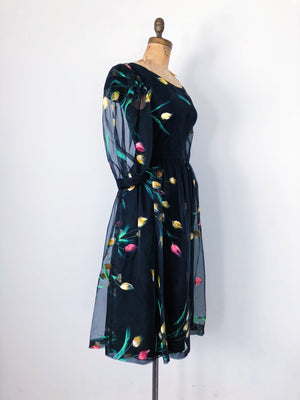 1950s Black Painted Silk Organza Dress - S