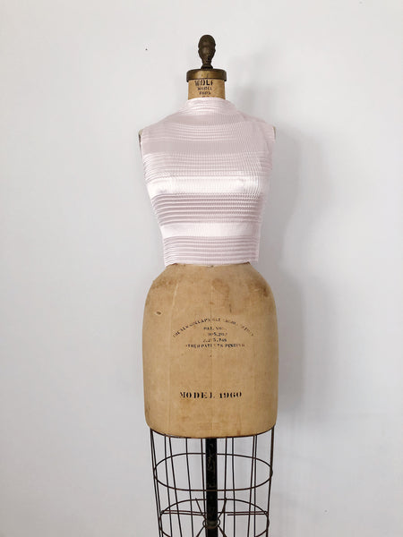 1980s Light Pink Geometric Pleated Top - S