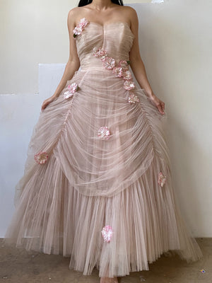 1950s Pink Tulle Dress with Appliqués - XS/S