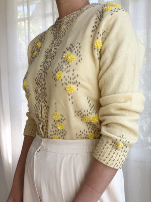 1950s Yellow Beaded Wool/Angora Cardigan - S