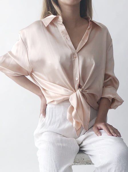Vintage Blush Silk Blouse - M/L