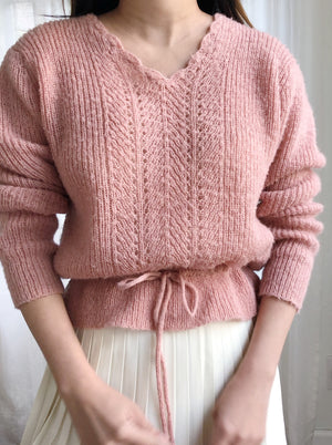 Vintage Dusty Pink Acrylic Pullover - S/M