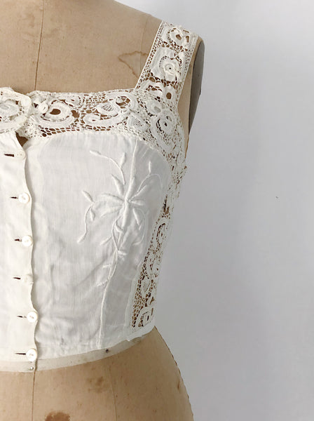 Rare Antique Embroidered Linen Cami - XS/S