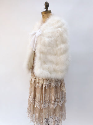 VTG Ivory Feather Capelet  - One Size