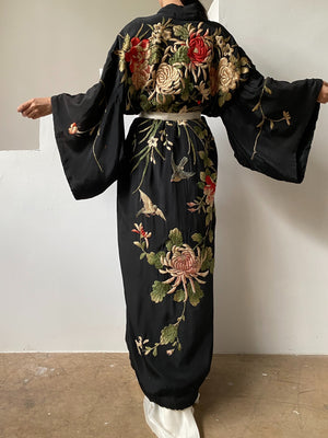 Antique Silk Kimono With Embroidered Blossoms and Sparrows - OSFM