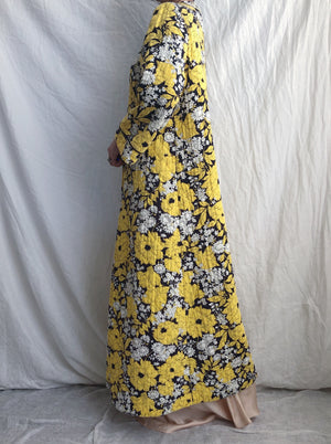 1960s Yellow Floral House Coat - OSFM
