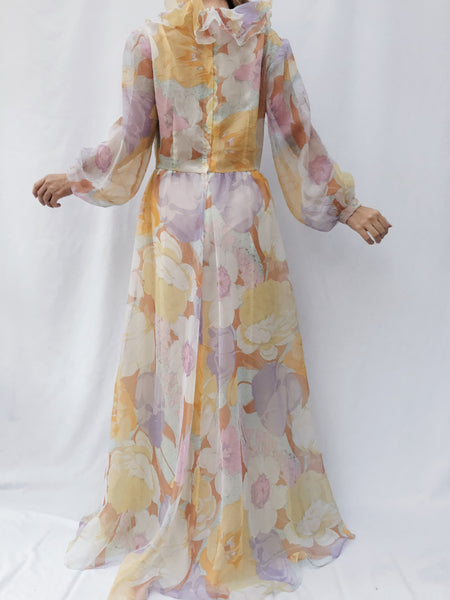 1970s Ruffled Neck Chiffon Floral Dress - M