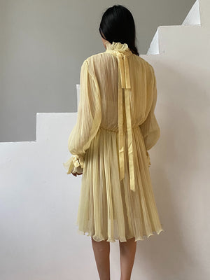 1960s Pleated Yellow Dress - S