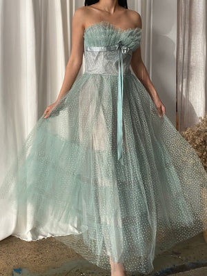 1950s Mint Green Tulle Dress - XS/S
