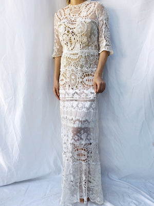 Antique Mixed Lace Net Dress - S/M
