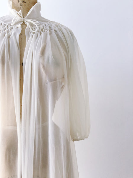1950s/60s Ivory Nylon Duster/Dressing Gown - One Size