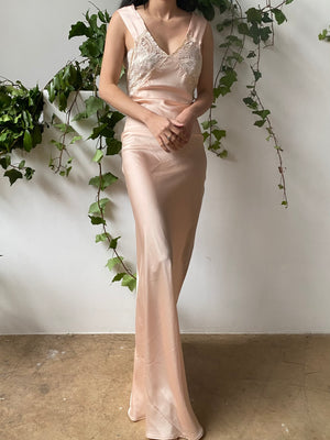 Peach Satin Bias Slip Gown - XS