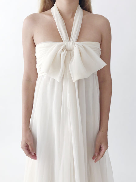 1960s Halter Chiffon Empire Dress - M/L
