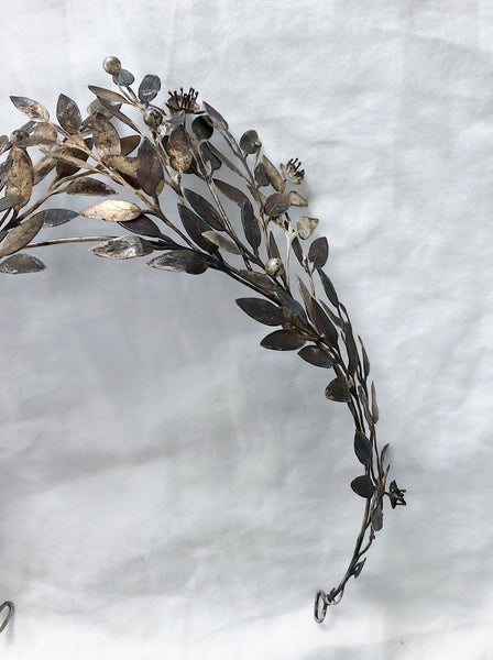 RESERVED Antique Silver Metal Tiara with Patina