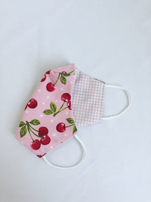2-in-1 Reversible Pink Cherries Cotton Face Mask