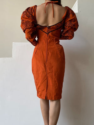 Vintage Rust-Color Mutton Sleeve Wiggle Dress - M