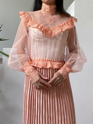 1970s Peach High Neck Net Top - S/M