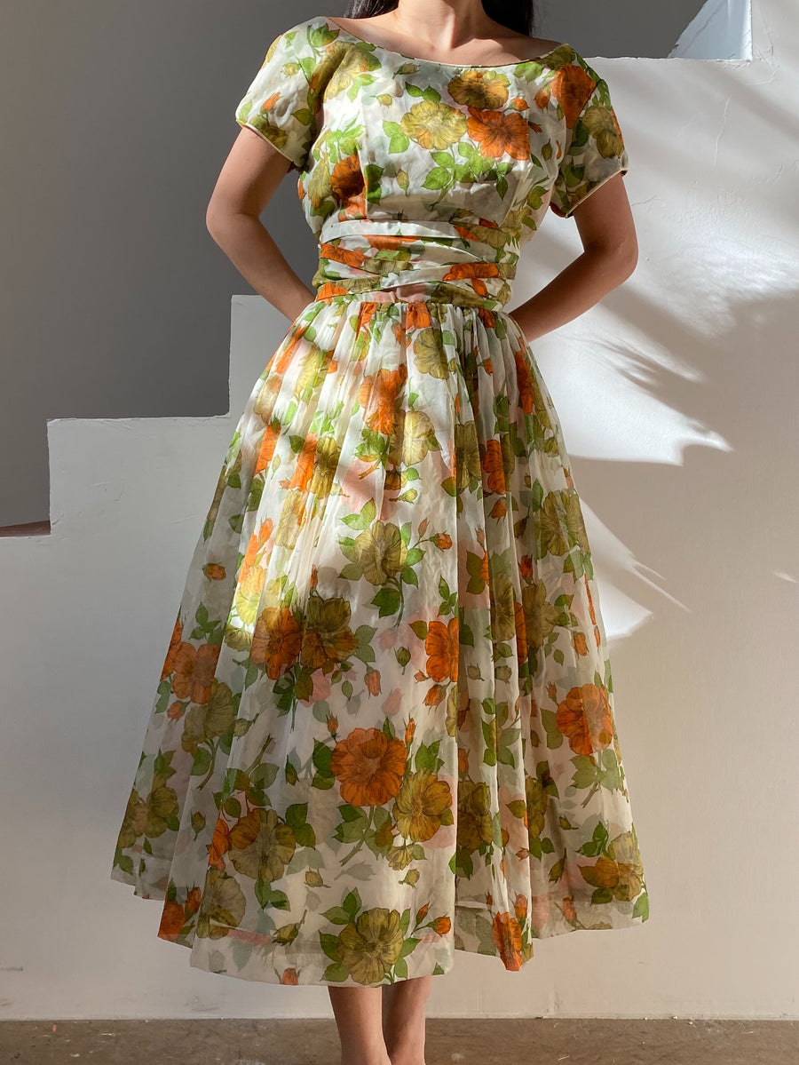 1950s Multicolor Floral Print Dress - M