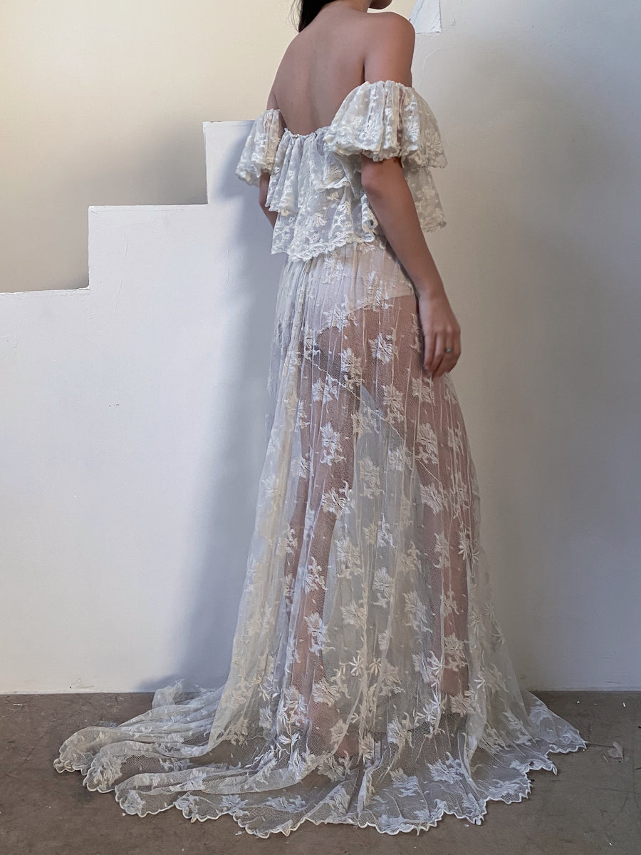 Vintage Gown Made from Antique Maltese Lace - S/M