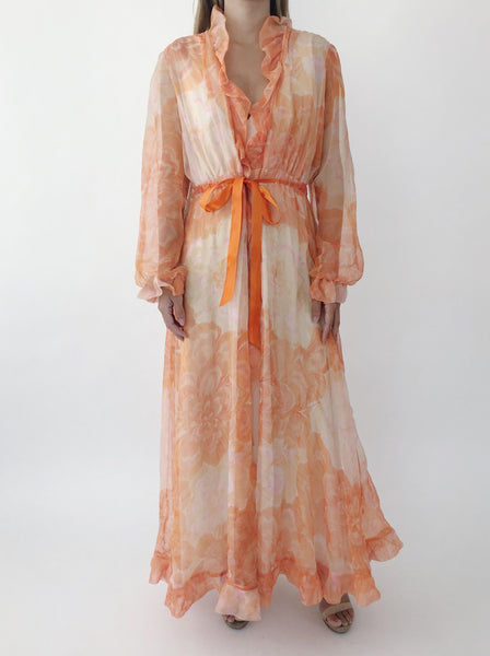 1960s Orange Sherbet Chiffon Dressing Gown - S/M