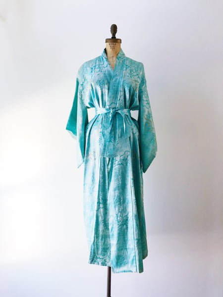 Vintage Satin Brocade Teal Dragon Kimono - One Size