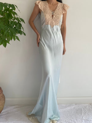 1930s Robins Egg Blue Silk Bias Gown - S/M