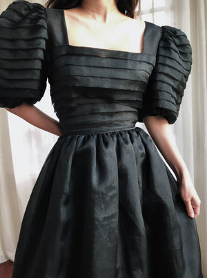 Vintage Pleated Voile Puff Sleeves Dress - S/M