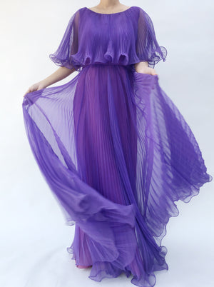 1960s Purple Chiffon Pleated Dress - S